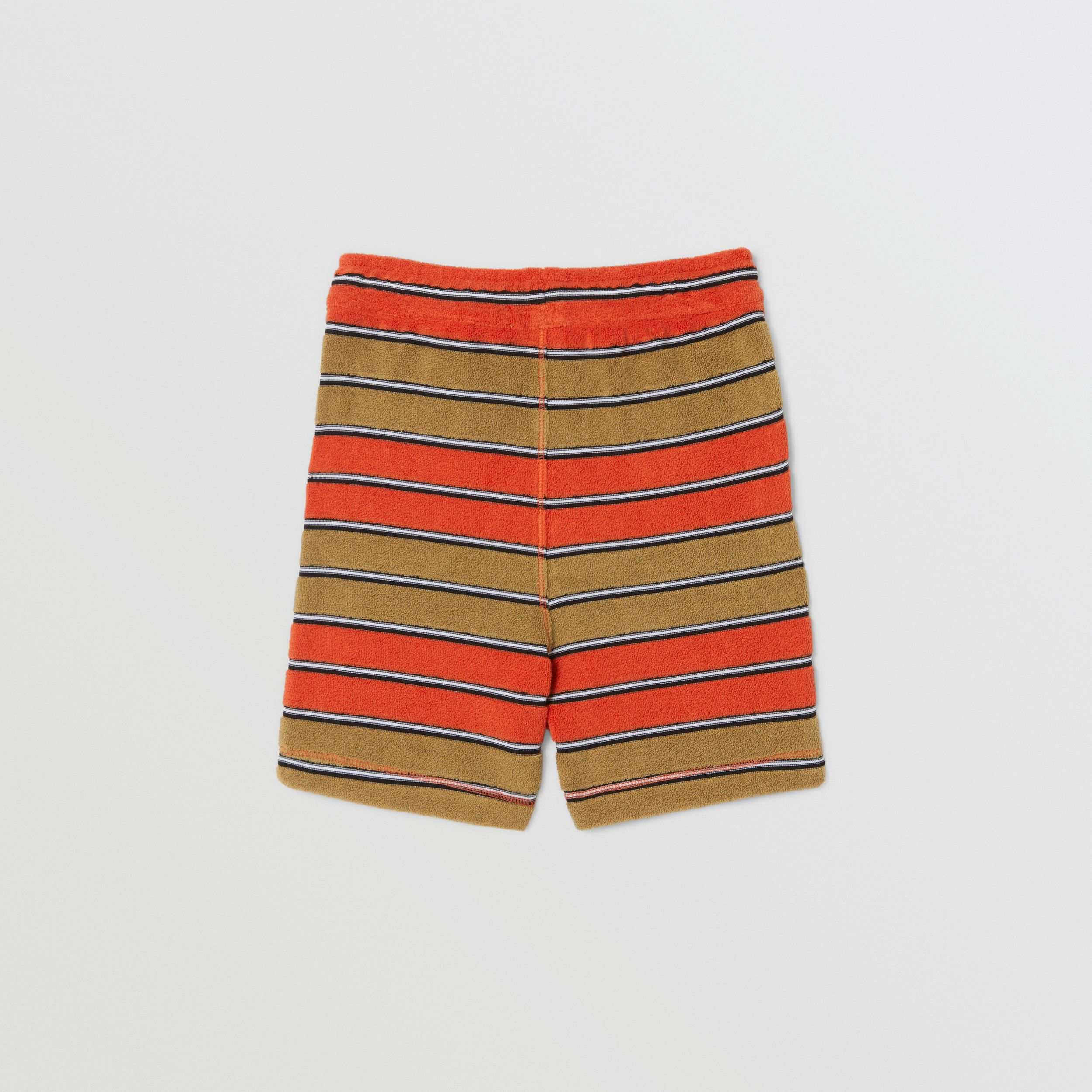 Logo Appliqué Striped Towelling Shorts in Vermilion Red - Children | Burberry - 4