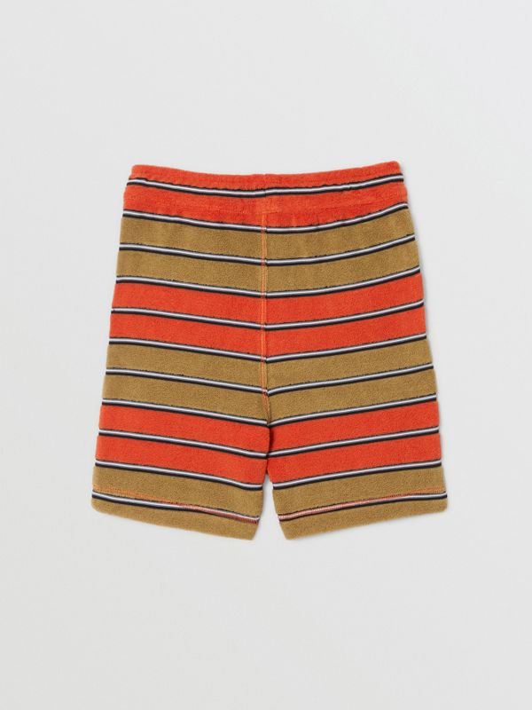 Logo Appliqué Striped Towelling Shorts in Vermilion Red - Children | Burberry Hong Kong S.A.R - cell image 3