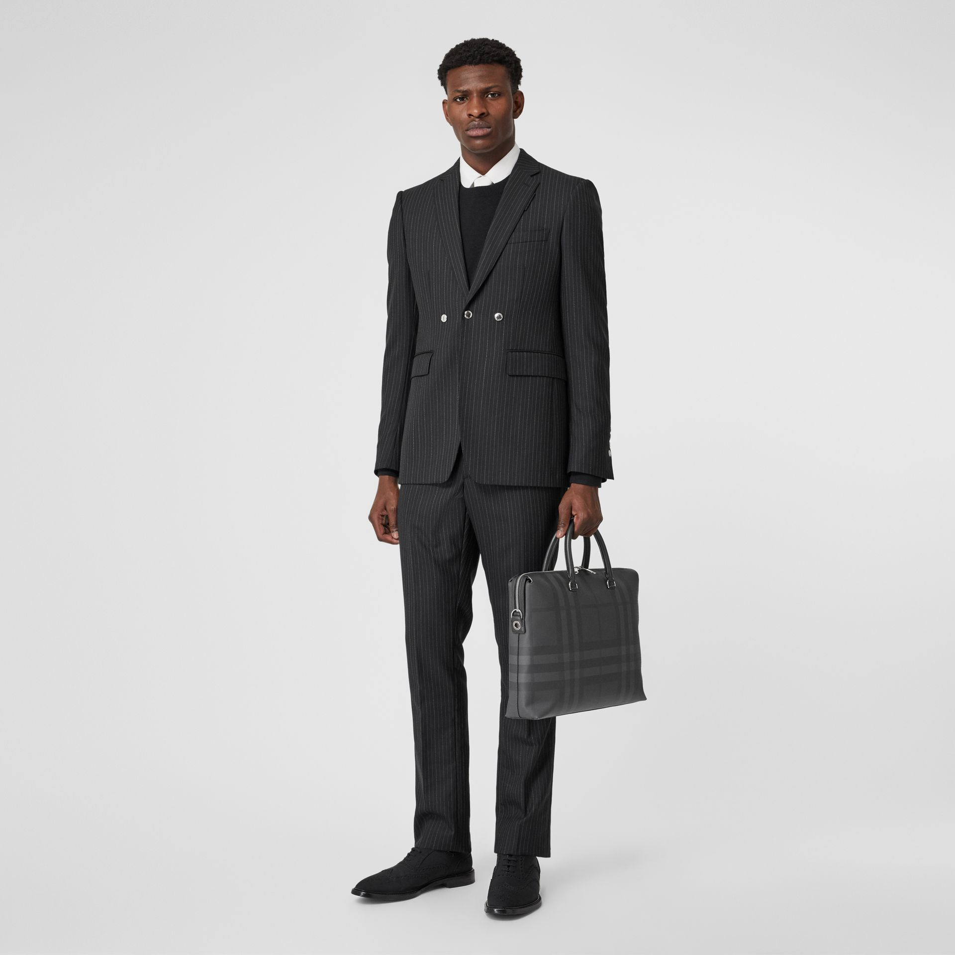 Large London Check and Leather Briefcase in Dark Charcoal - Men | Burberry - gallery image 5