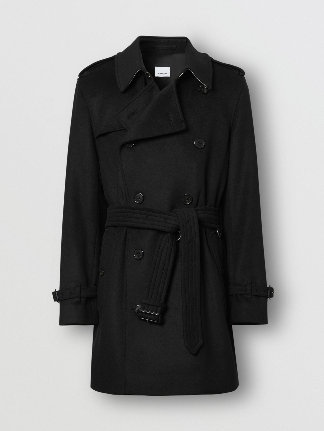 Trench coat de lã e cashmere in Preto