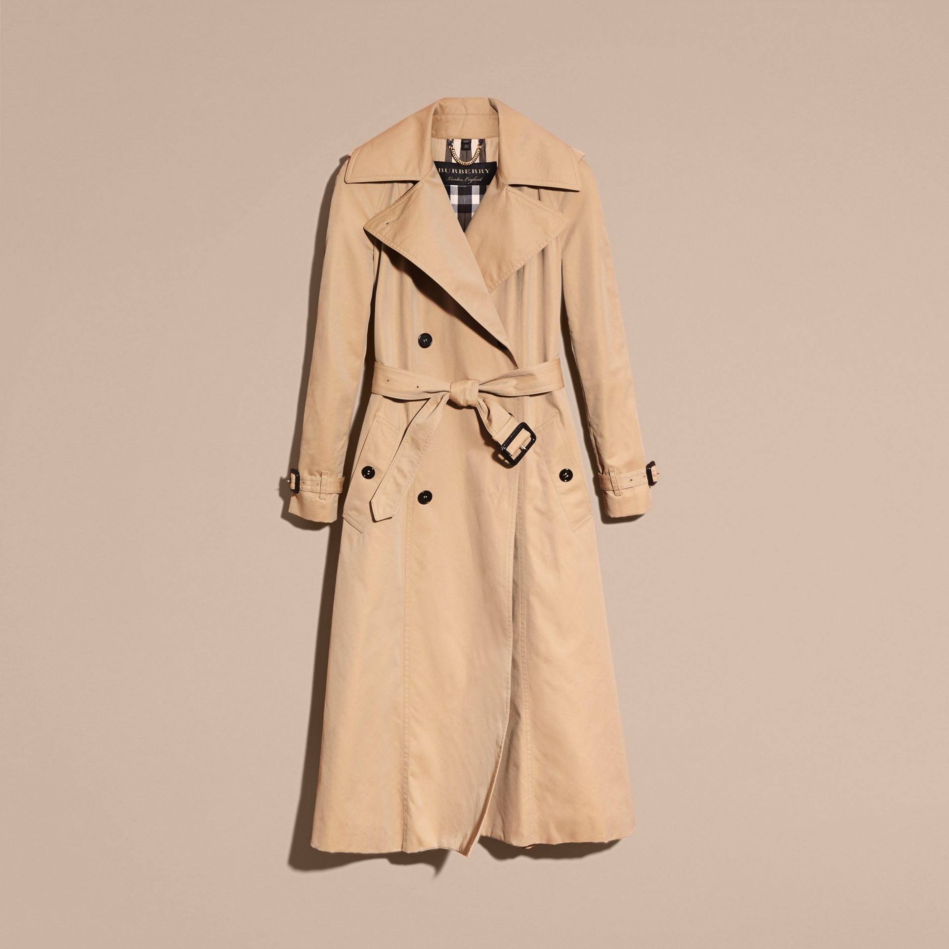 Honey Cotton Gabardine A-line Trench Coat - gallery image 4