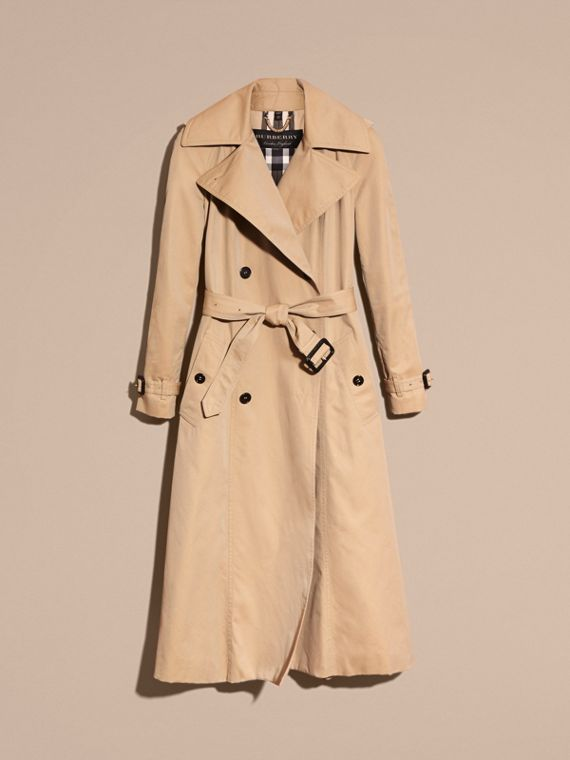 Honey Cotton Gabardine A-line Trench Coat - cell image 3