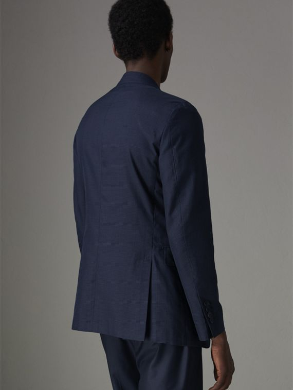 Slim Fit Gingham Cotton Jacket in Navy - Men | Burberry - cell image 2