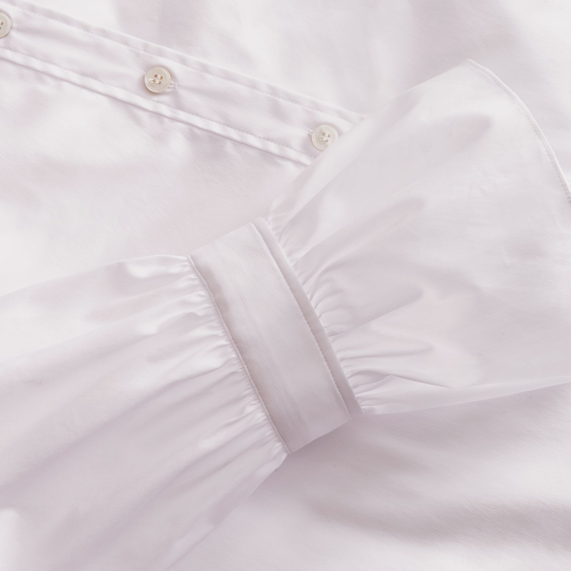 Ruffle Detail Stretch Cotton Poplin Shirt - gallery image 2