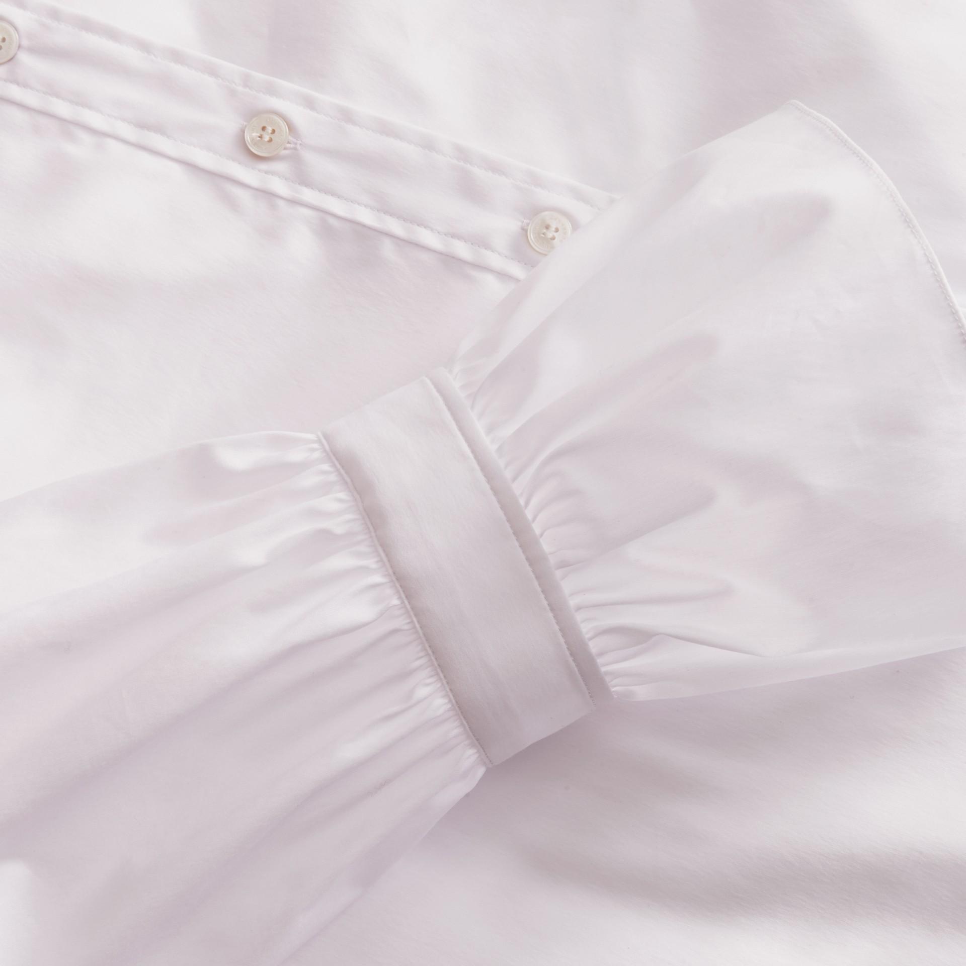 White Ruffle Detail Stretch Cotton Poplin Shirt - gallery image 2