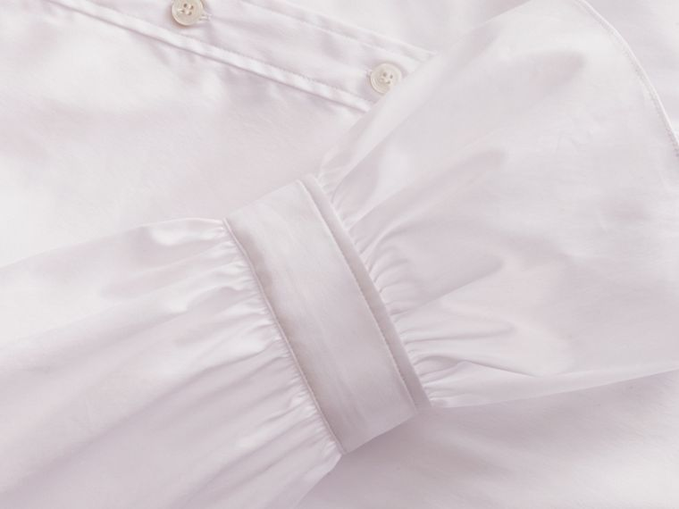 Ruffle Detail Stretch Cotton Poplin Shirt - cell image 1