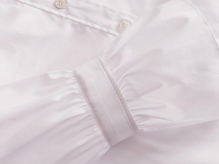 White Ruffle Detail Stretch Cotton Poplin Shirt - cell image 1