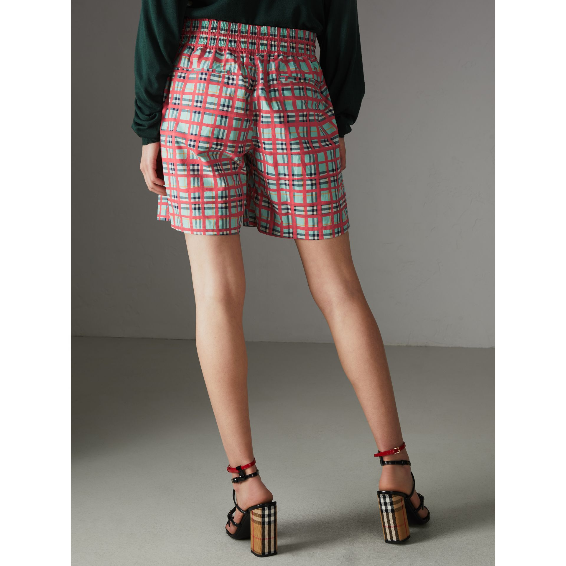 Painted Check Cotton Drawcord Shorts in Bright Aqua - Women | Burberry United States - gallery image 2