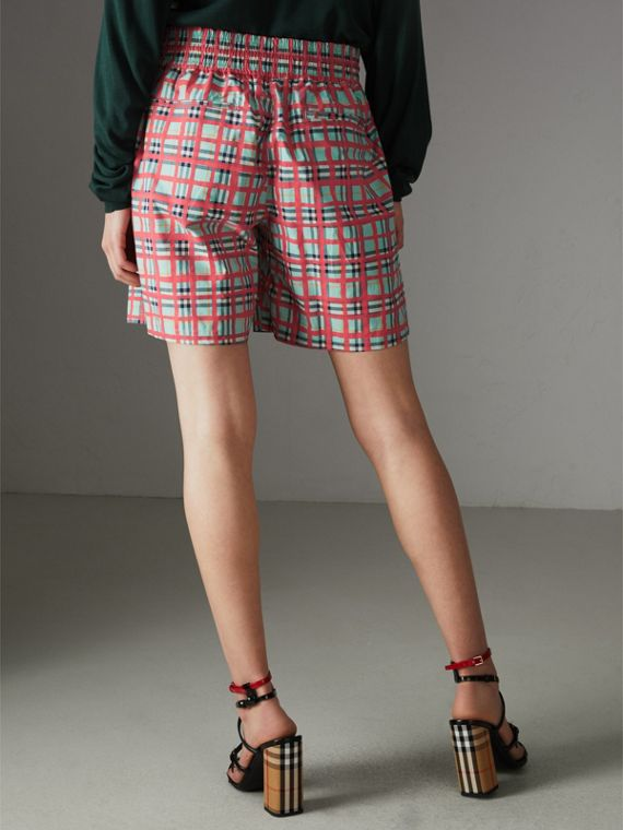 Painted Check Cotton Drawcord Shorts in Bright Aqua - Women | Burberry - cell image 2
