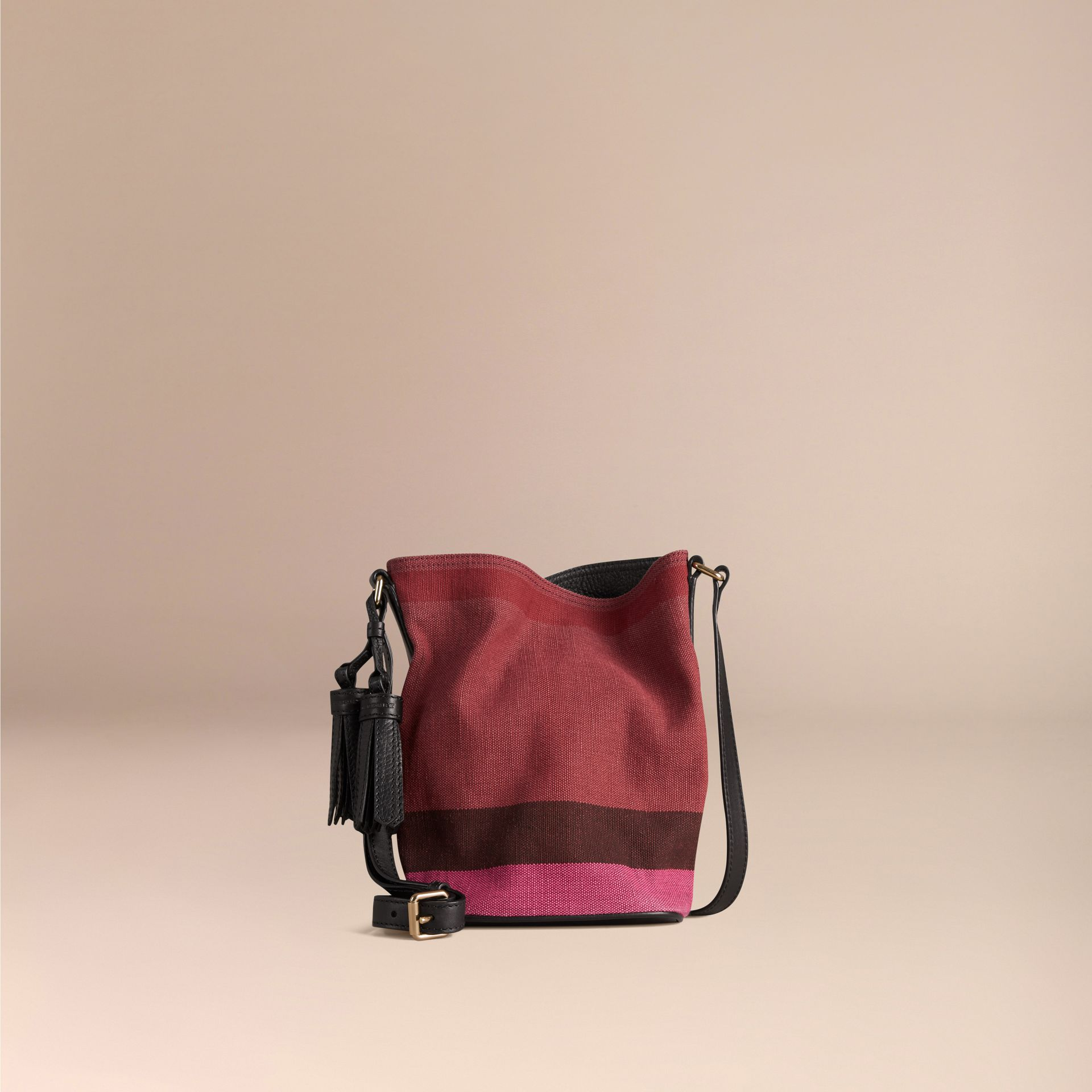 Plum The Small Ashby in Overdyed Canvas Check and Leather Plum - gallery image 4