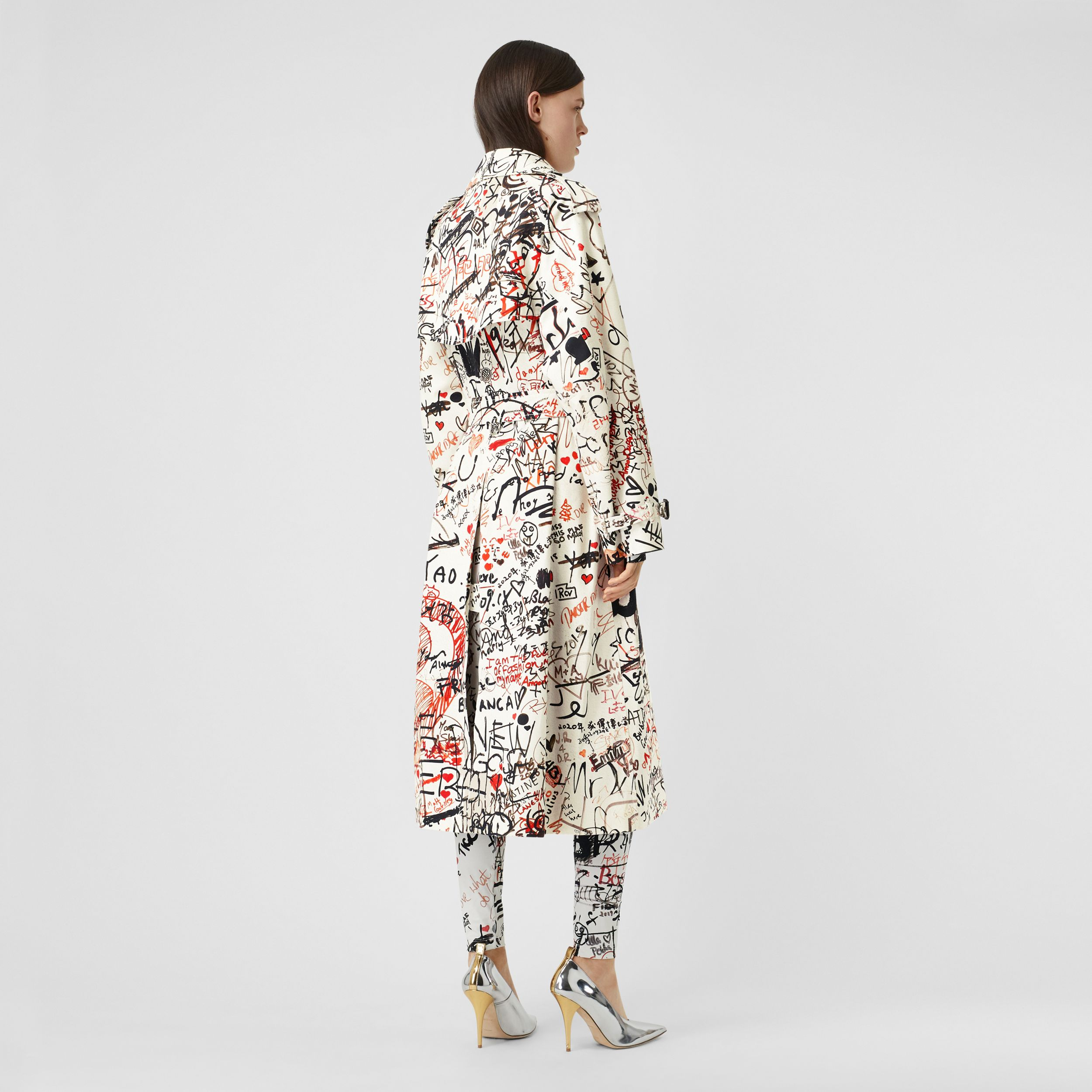 Graffiti Print Cotton Gabardine Trench Coat in Black - Women | Burberry - 3
