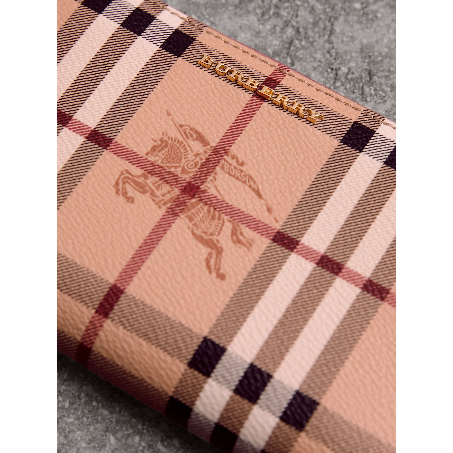 Haymarket Check and Leather Ziparound Wallet in Light Elderberry - Women | Burberry - gallery image 1