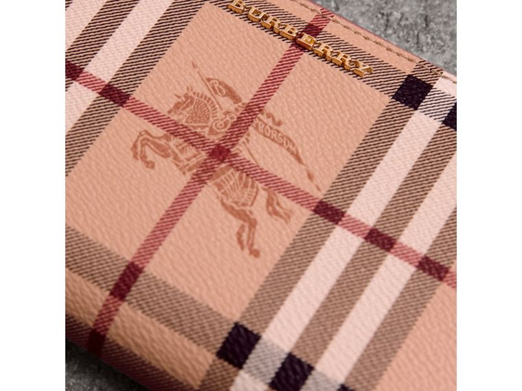 Haymarket Check and Leather Ziparound Wallet in Light Elderberry - Women | Burberry United Kingdom - cell image 1