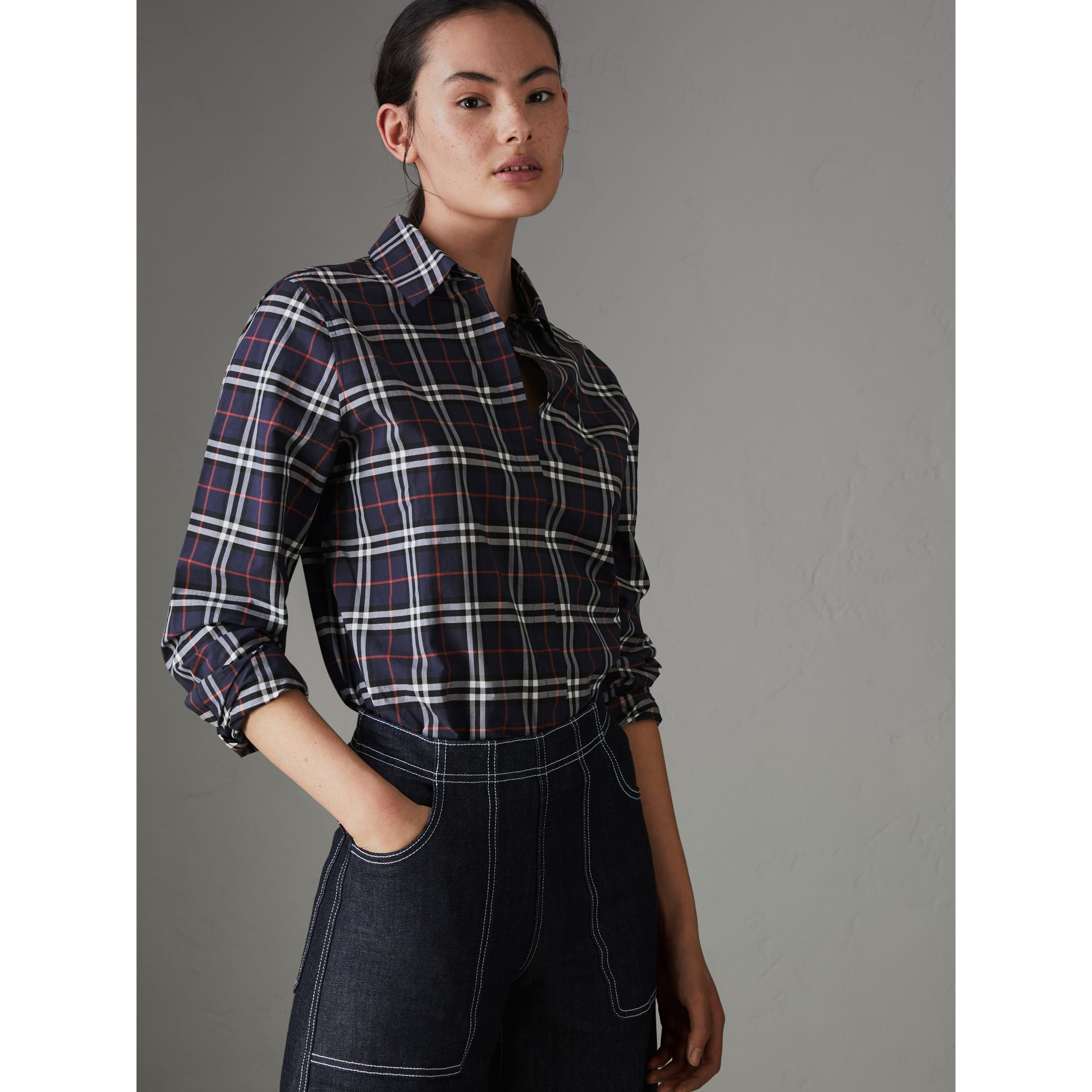 Check Cotton Shirt in Navy - Women | Burberry - gallery image 4