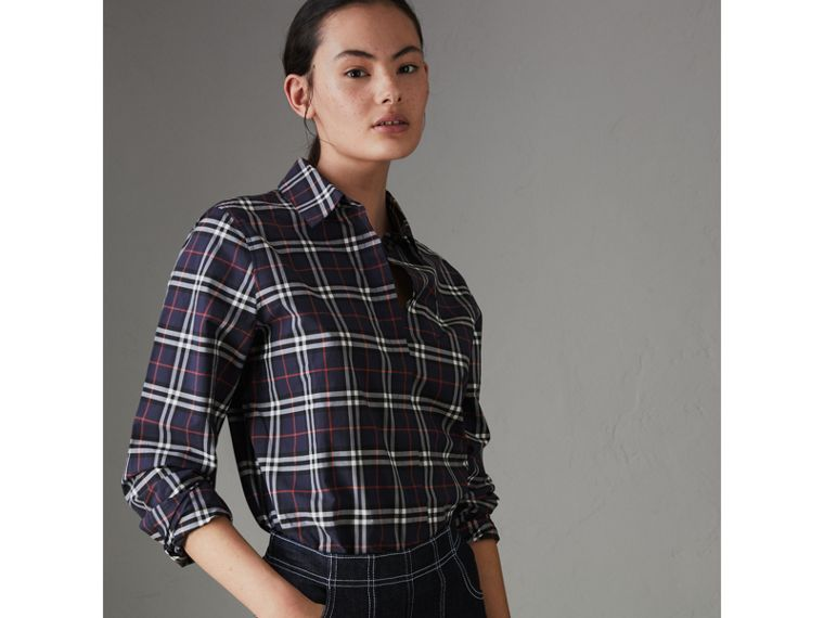 Check Cotton Shirt in Navy - Women | Burberry - cell image 4