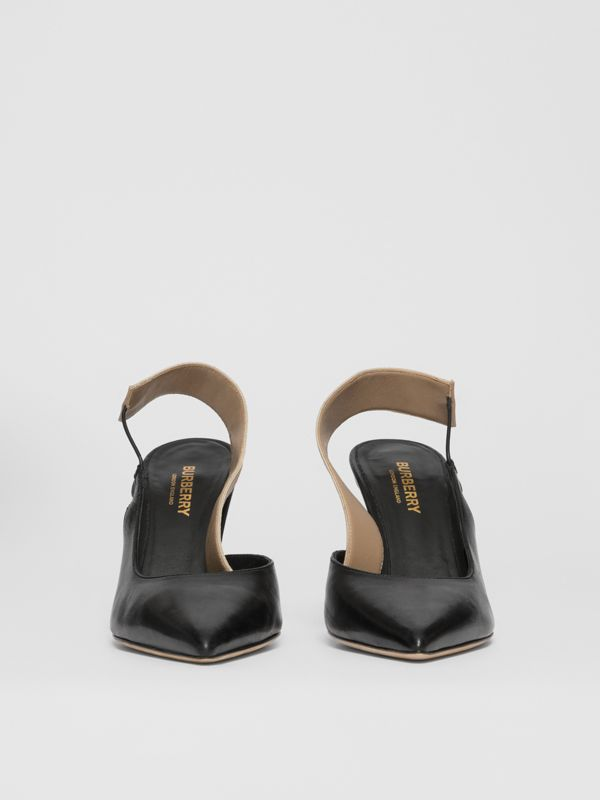 Logo Detail Lambskin Slingback Pumps in Black - Women | Burberry - cell image 2