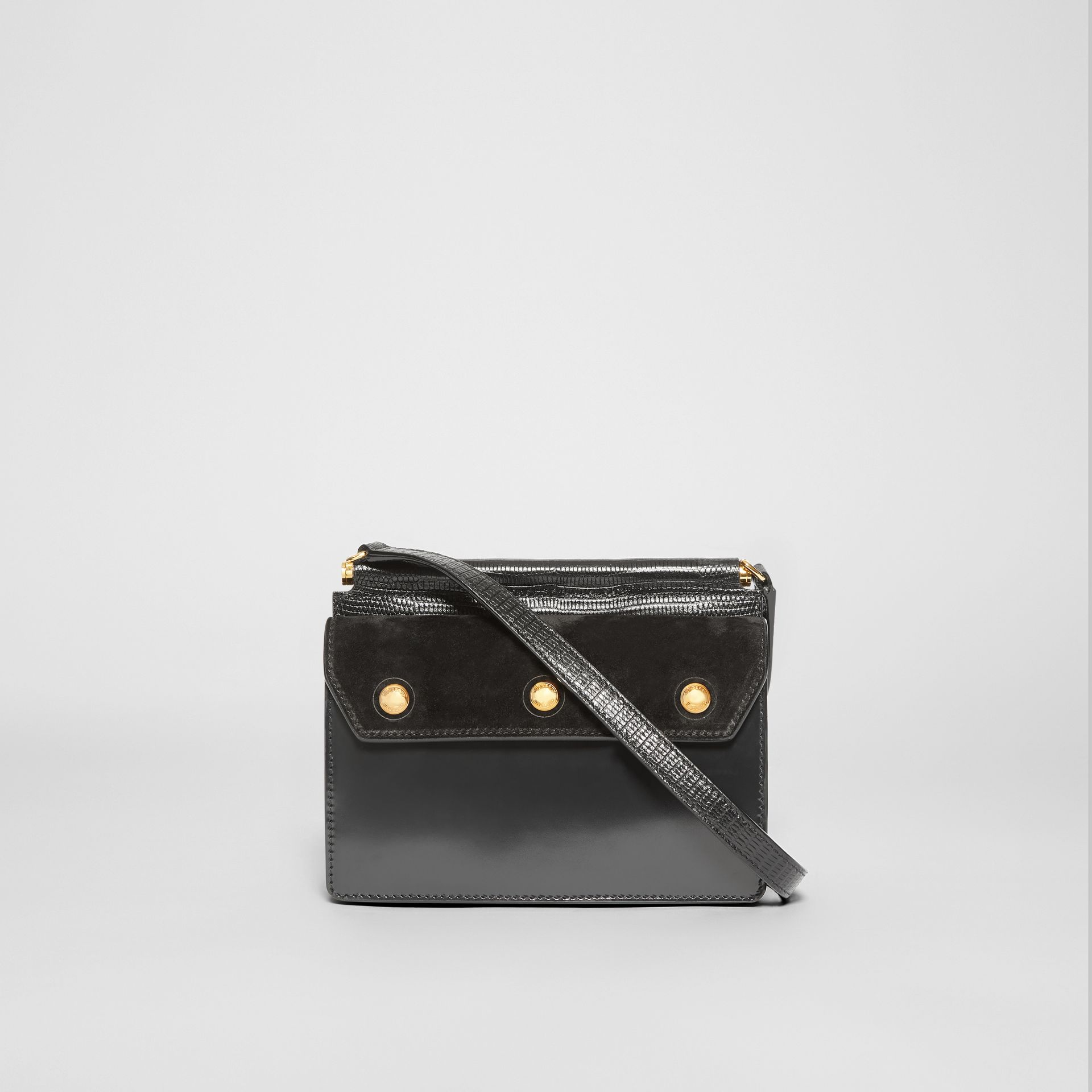 Mini Suede and Leather Title Bag with Pocket Detail in Black - Women | Burberry - gallery image 7
