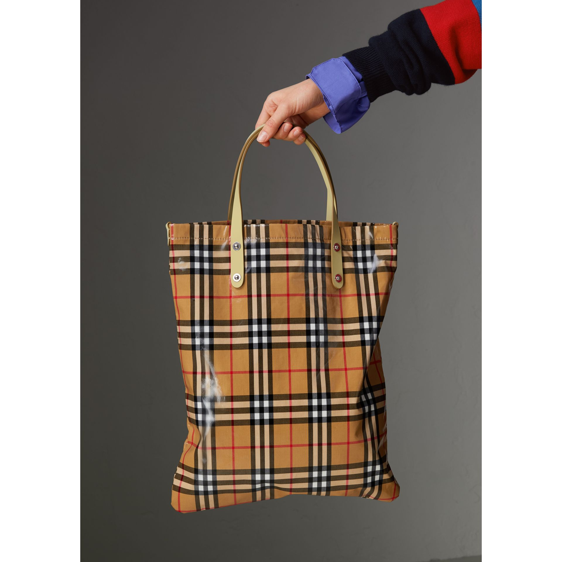 Medium Coated Vintage Check Shopper in Pale Yellow | Burberry - gallery image 4