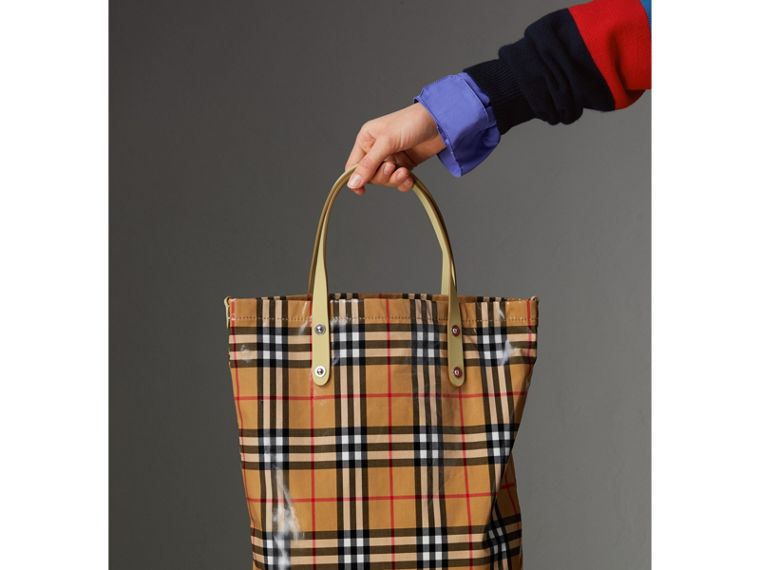 Medium Coated Vintage Check Shopper in Pale Yellow | Burberry - cell image 4