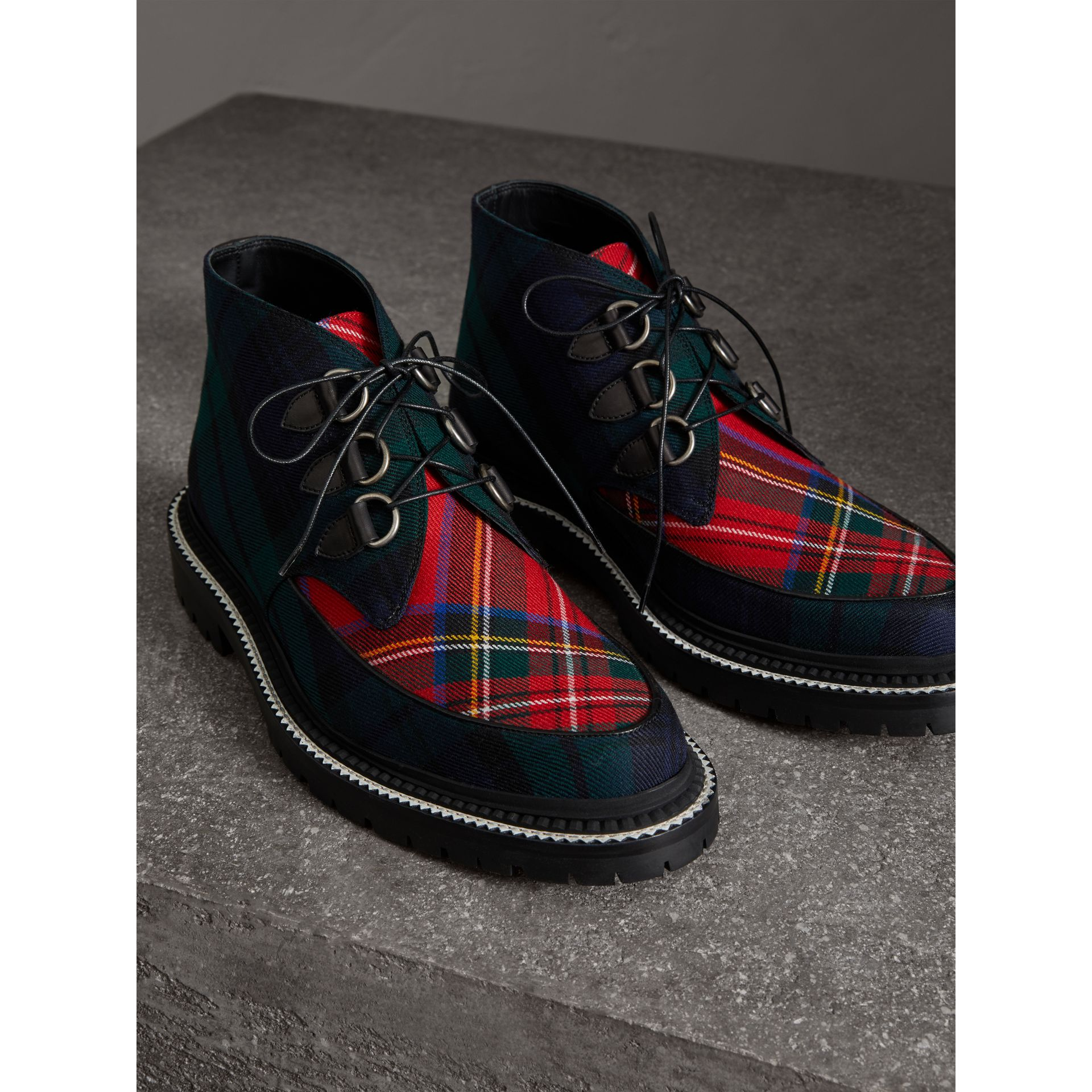 Tartan Wool and Leather Ankle Boots in Black - Men | Burberry - gallery image 3