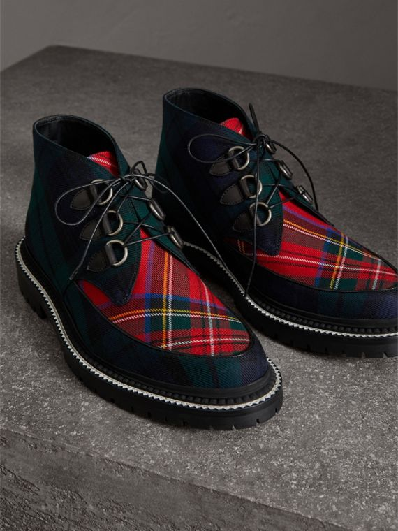 Tartan Wool and Leather Ankle Boots in Black - Men | Burberry - cell image 3