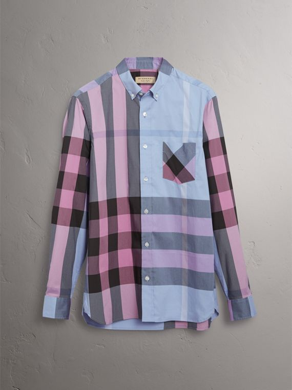 Button-down Collar Check Stretch Cotton Blend Shirt in Chalk Blue - Men | Burberry United Kingdom - cell image 3
