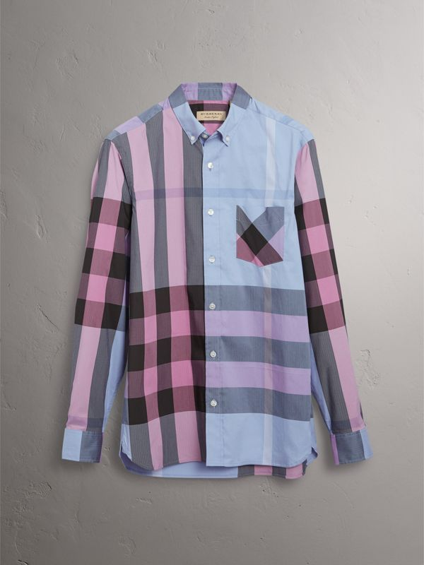 Camicia in misto cotone stretch con motivo tartan e colletto button-down (Blu Gesso) - Uomo | Burberry - cell image 3