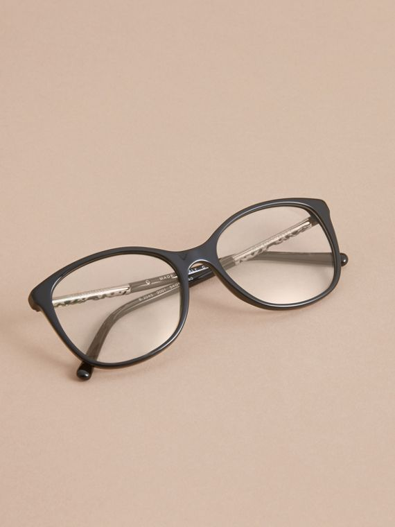 Check Detail Round Optical Frames Black - cell image 2