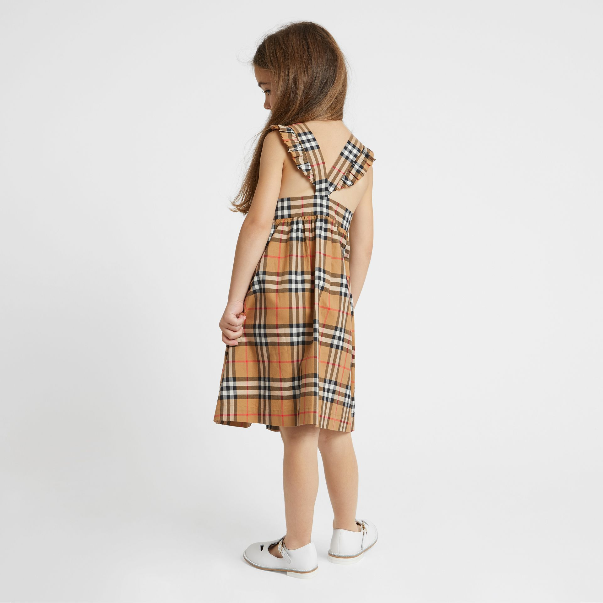 Ruffle Detail Vintage Check Cotton Dress in Antique Yellow | Burberry United Kingdom - gallery image 2