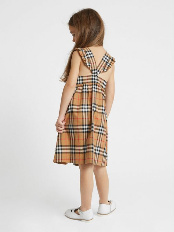 Ruffle Detail Vintage Check Cotton Dress in Antique Yellow