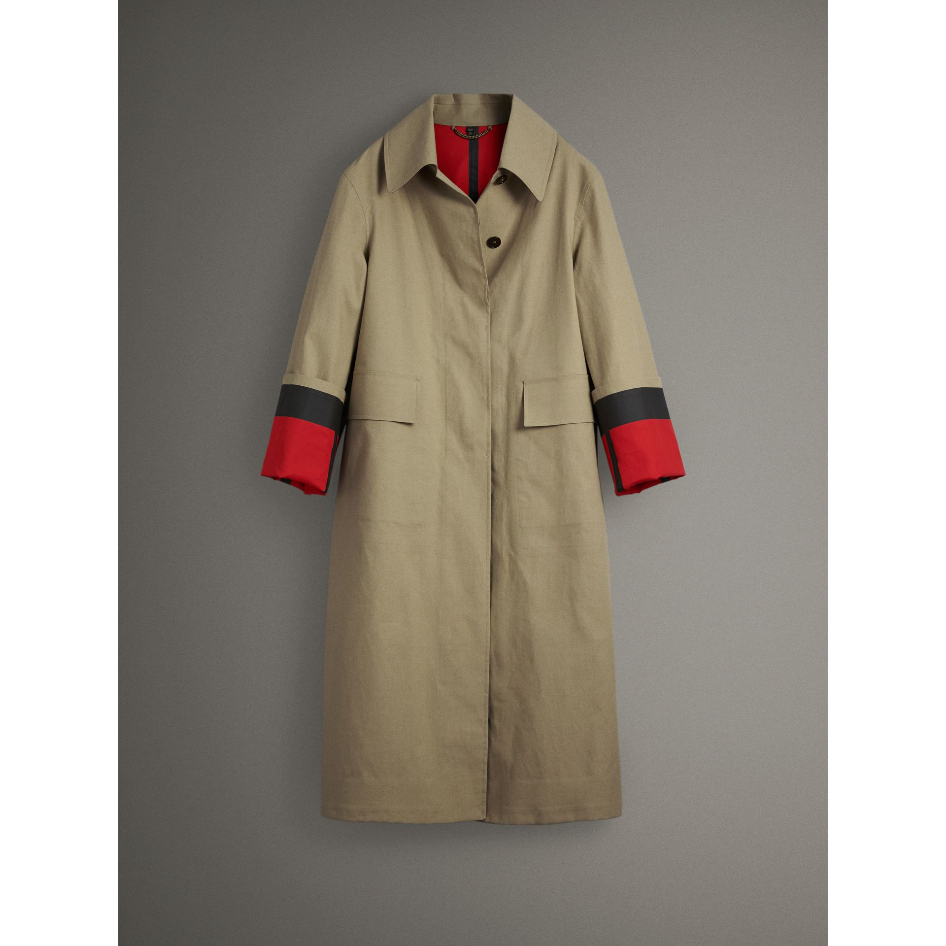 Bonded Cotton Poplin Seam-sealed Car Coat in Beige/red - Women | Burberry - gallery image 4