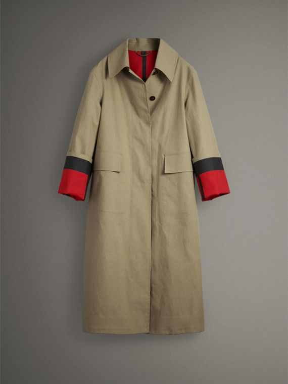 接合棉府綢密縫 Car Coat 大衣 (米色/紅色) - 女款 | Burberry - cell image 3