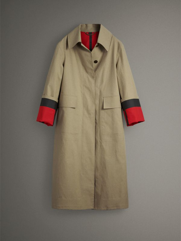 Bonded Cotton Poplin Seam-sealed Car Coat in Beige/red - Women | Burberry - cell image 3