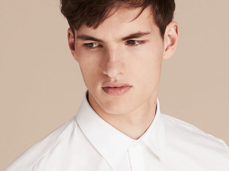 Modern Fit Cotton Poplin Shirt in White - Men | Burberry United States - cell image 4