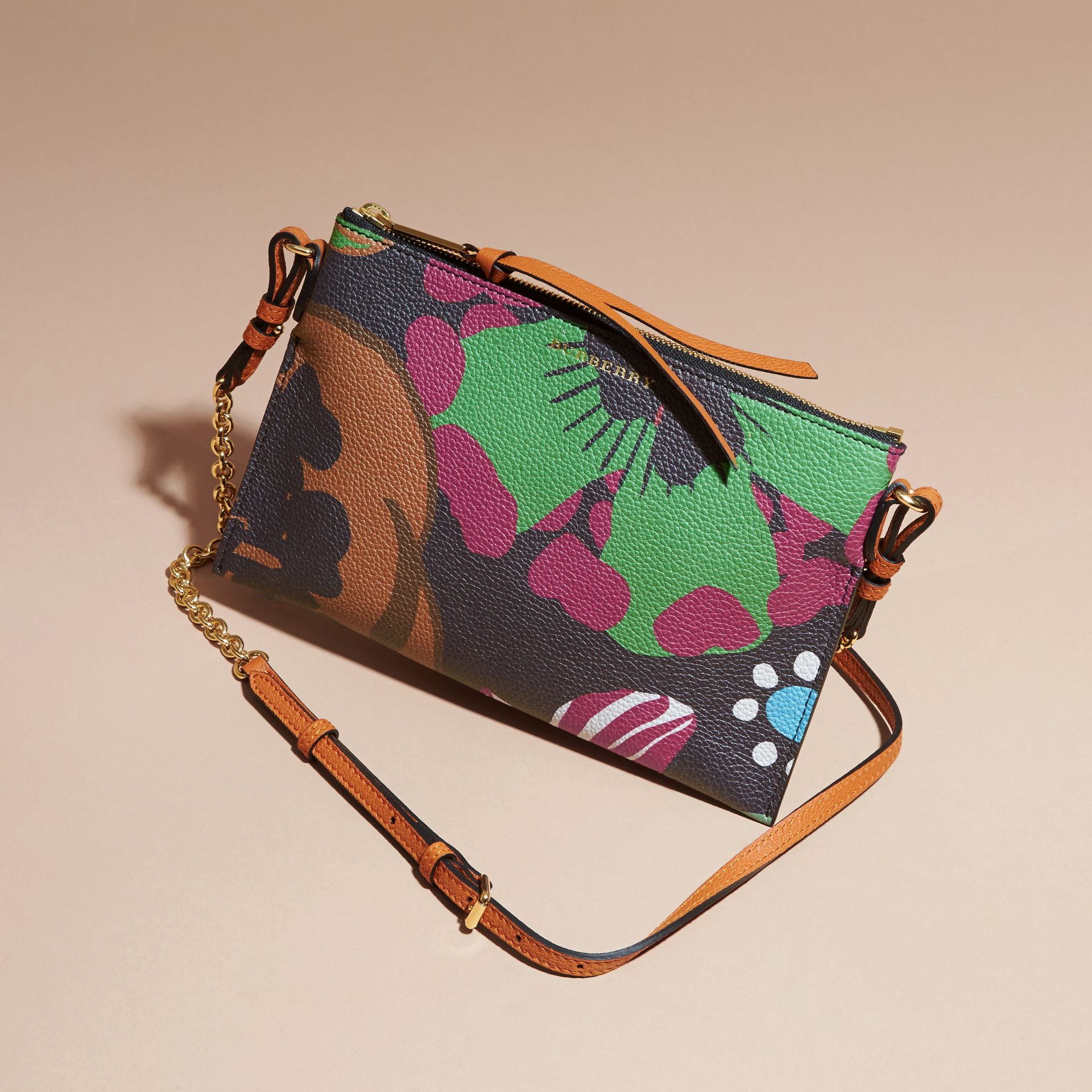Navy Floral Print Leather Clutch Bag Navy - gallery image 6