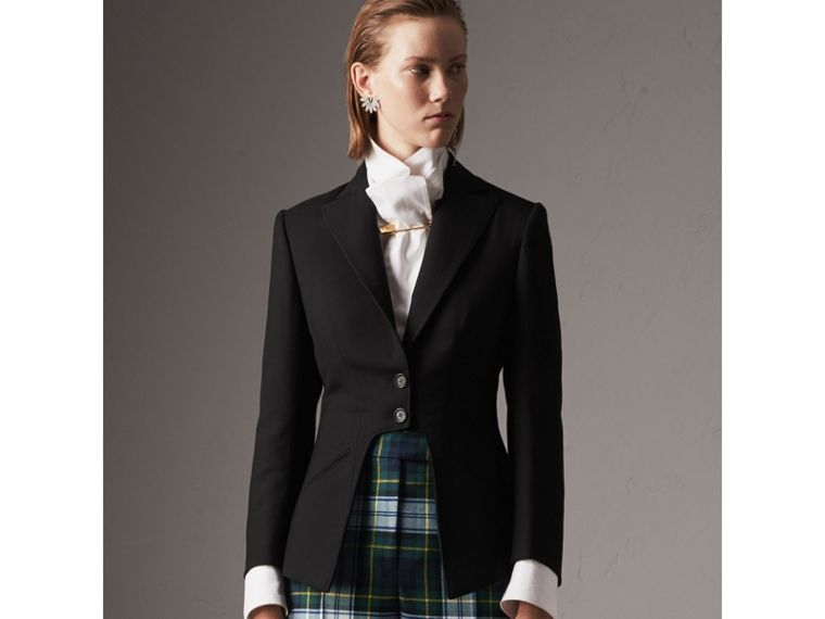Lightweight Wool-silk Tailored Riding Jacket in Black - Women | Burberry United Kingdom - cell image 4