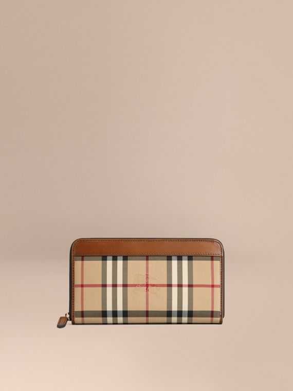 Horseferry Check Ziparound Wallet in Tan