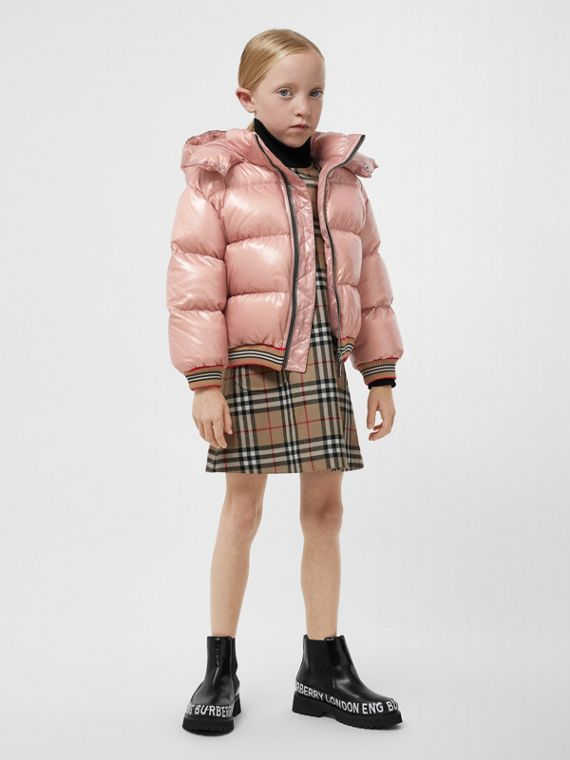 Icon Stripe Detail Hooded Puffer Jacket in Lavender Pink