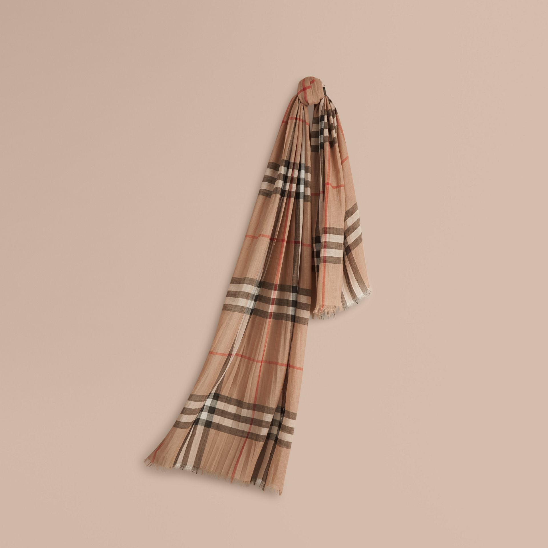 Lightweight Check Wool and Silk Scarf Camel - gallery image 1