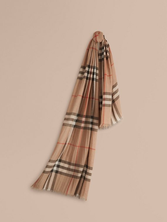 Lightweight Check Wool and Silk Scarf Camel
