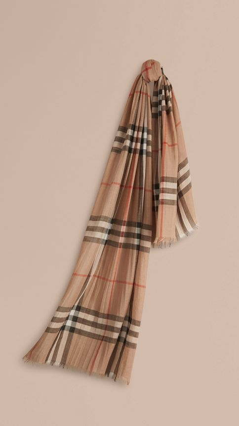 Camel check Lightweight Check Wool and Silk Scarf Camel - Image 1