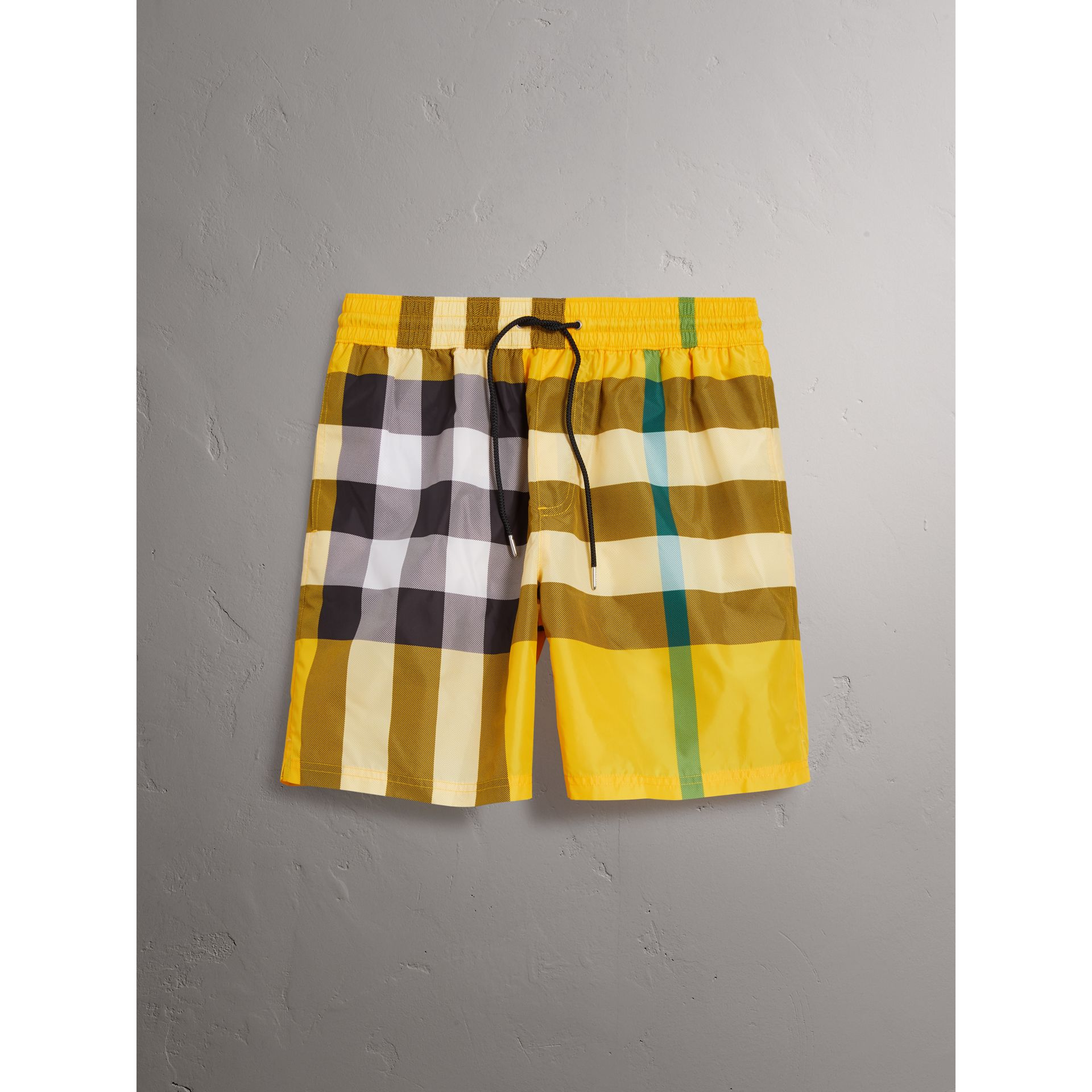 Check Drawcord Swim Shorts in Bright Yellow - Men | Burberry Australia - gallery image 0