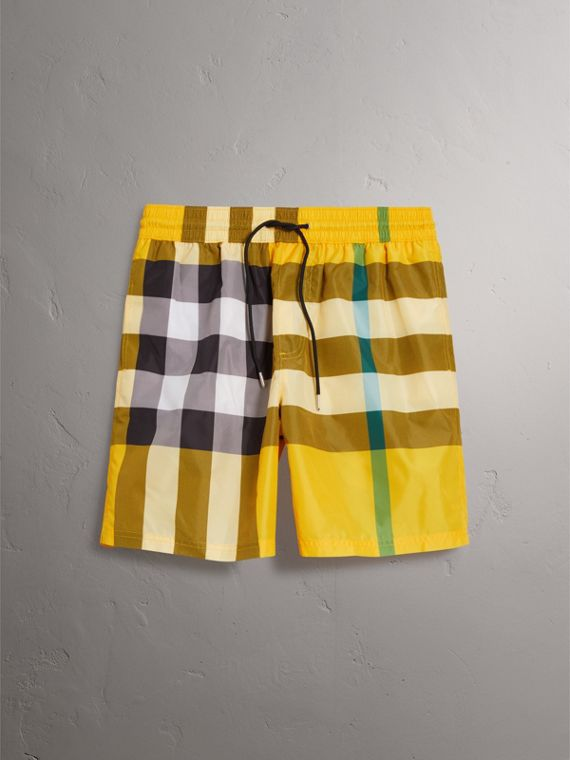 Check Drawcord Swim Shorts in Bright Yellow