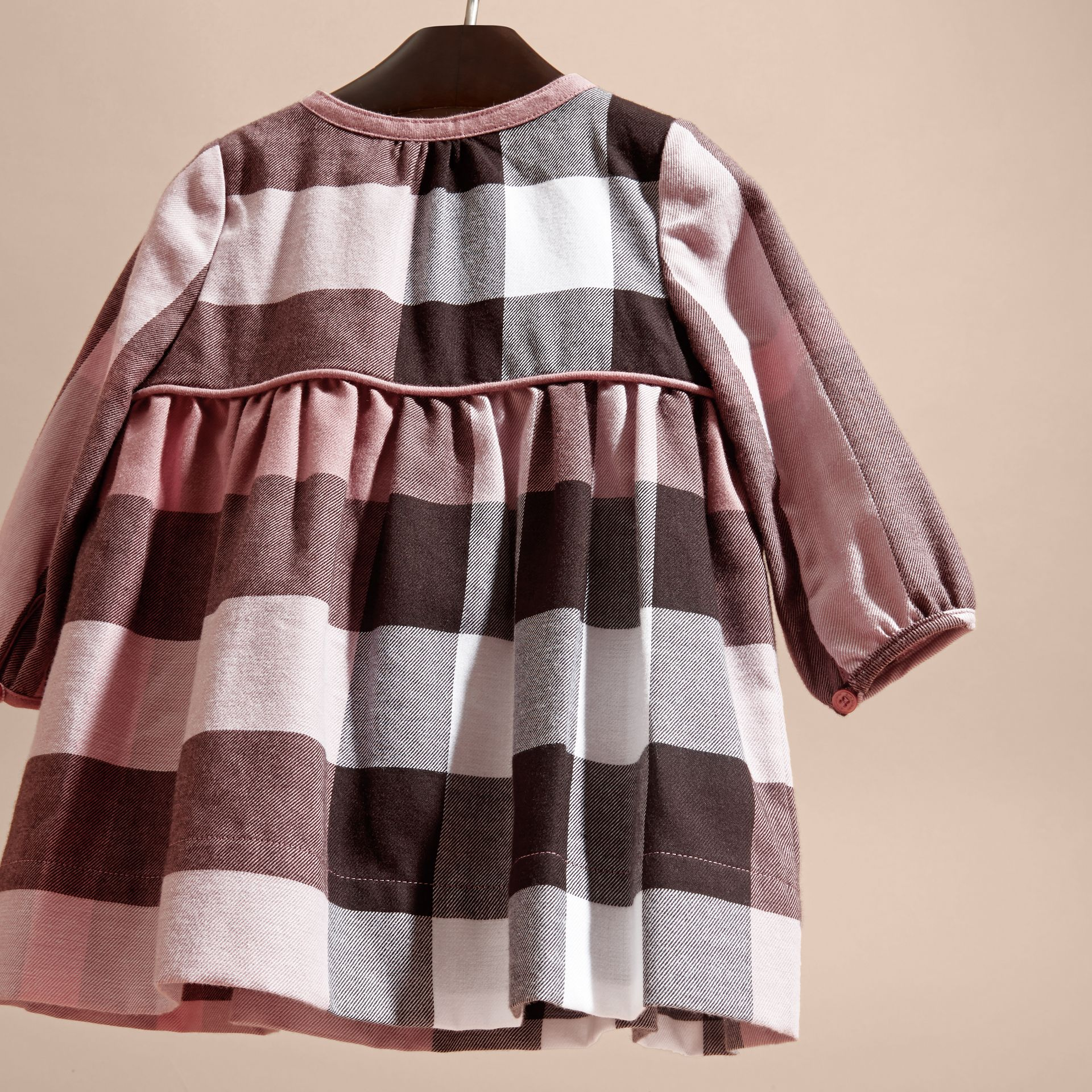 Antique rose Check Cotton Flannel Dress with Bow Detail Antique Rose - gallery image 4