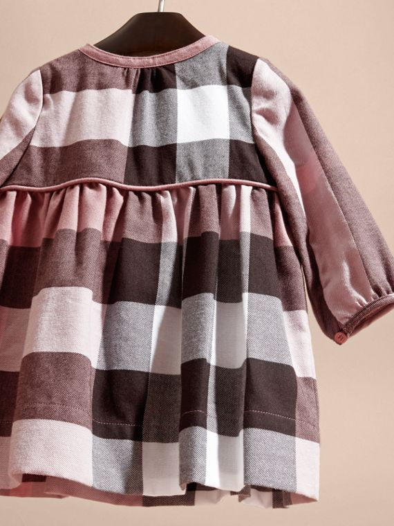 Antique rose Check Cotton Flannel Dress with Bow Detail Antique Rose - cell image 3