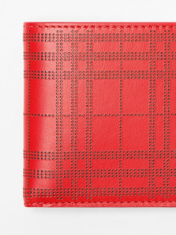 Perforated Check Leather International Bifold Wallet in Rust Red - Men | Burberry - cell image 1