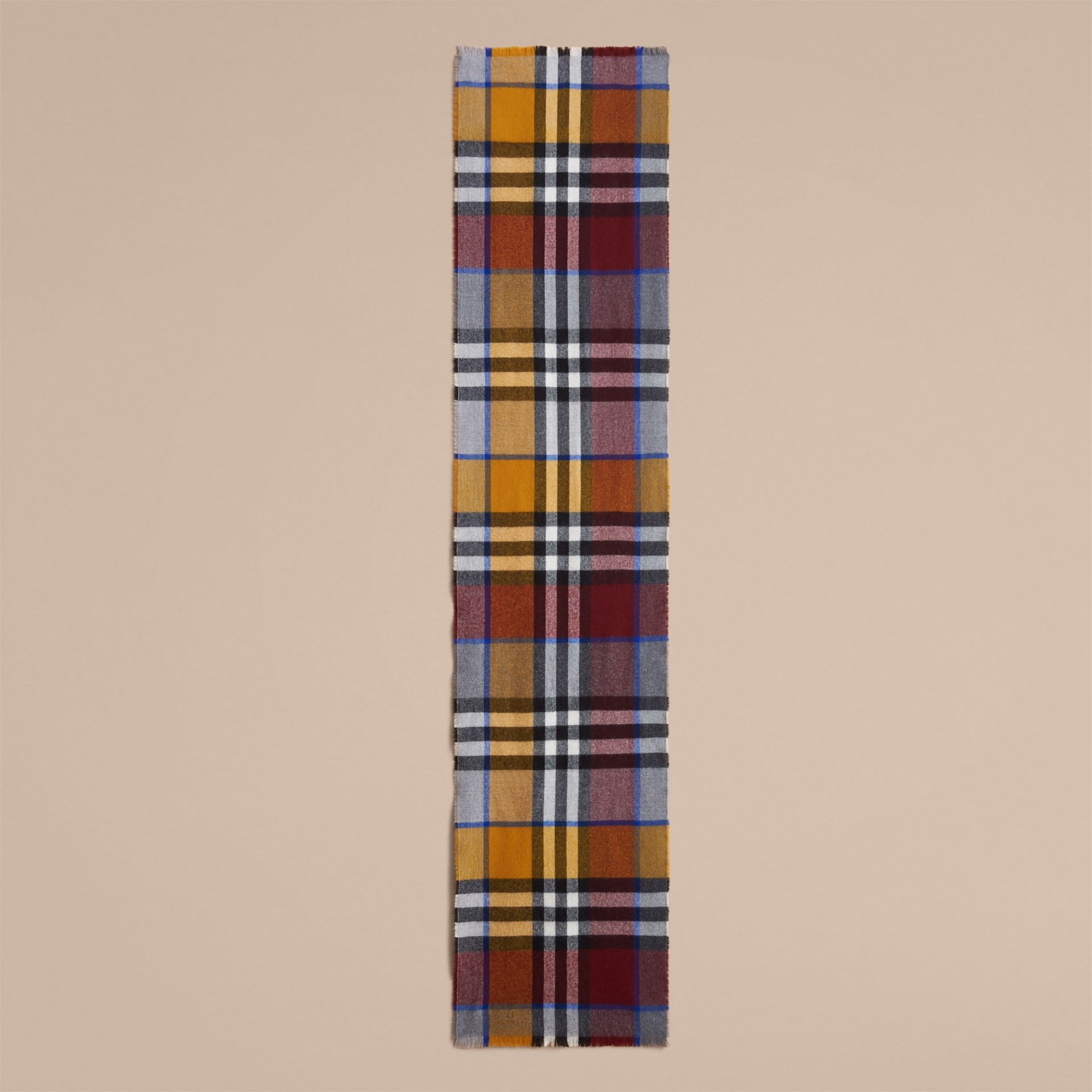 Overdyed Exploded Check Merino Wool Scarf in Burgndy/ochre Yellow | Burberry United Kingdom - gallery image 3