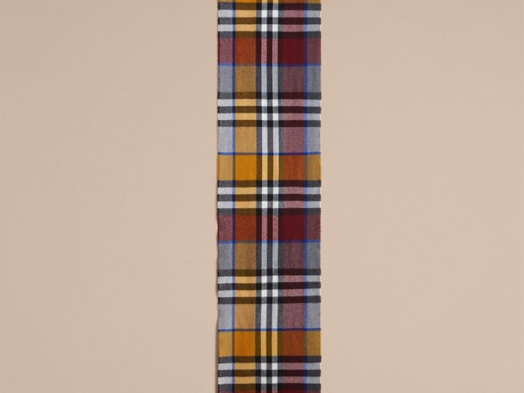 Overdyed Exploded Check Merino Wool Scarf in Burgndy/ochre Yellow | Burberry United Kingdom - cell image 2