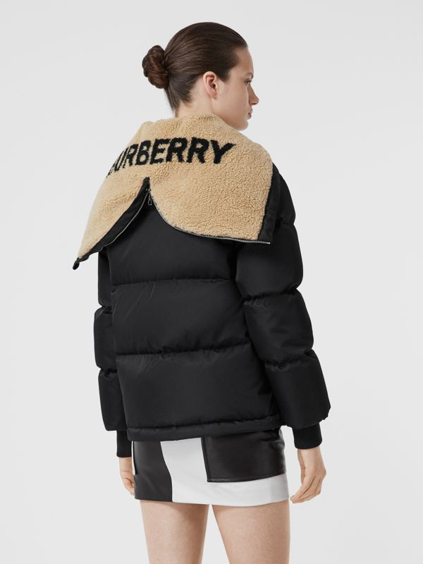 Logo Detail ECONYL® Puffer Jacket in Black - Women | Burberry - cell image 2