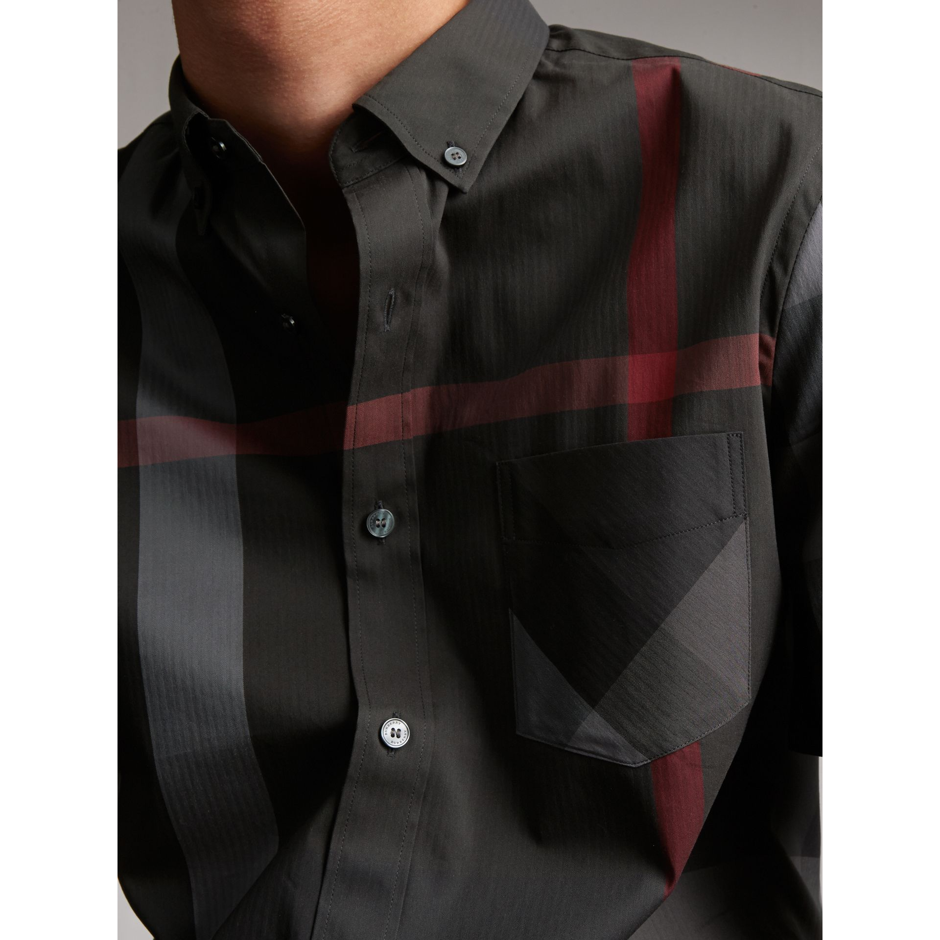 Short-sleeve Check Stretch Cotton Blend Shirt in Charcoal - gallery image 4